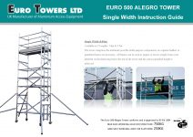 Euro Towers Alegro Euro 500 Single Width 3T instruction manual